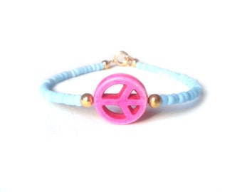 Pink Peace Sign Bracelet, Blue Beaded Bracelet, Friendship Bracelet, Peace Jewelry, UK Seller
