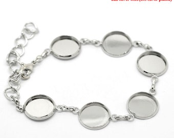 Silver Cabochon Setting Bracelet - Antique Silver - Holds 14mm Cabochons - Ships IMMEDIATELY from California  - CH243