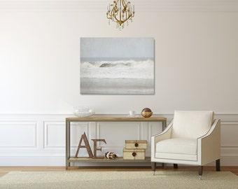 Grey Ocean Canvas Photograph, Grey and White Wall Art, Beach Canvas, Wave Artwork, Large Ocean Wall Decor