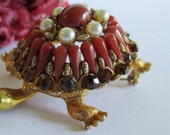 vintage turtle brooch Har with rhinestones, faux pearls and red stones Free Shipping
