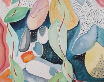 Original watercolor painting, Rocks, Water, Leaves, and String
