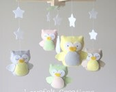 Baby Crib Mobile - Baby Mobile - Owl mobile - Neutral Mobile