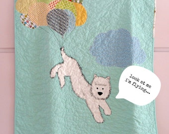 Modern patchwork baby quilt,The dog in the air with balloons,crib size quilt, aqua, nursery decor, playmat, shower gift idea-Made to order