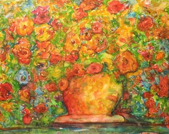 Abstract Roses Bouquet Contemporary Decor, Gift, Present, Original bright  Watercolor Painting by ebsq Artist  Ricky Martin. FREE SHIPPING