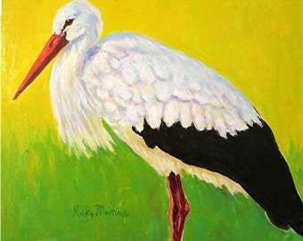 Stork, Wildlife, Bird, Black and White - Original Fine Art  Contemporary Acrylic  Painting by ebsq Artist Ricky Martin FREE SHIPPING