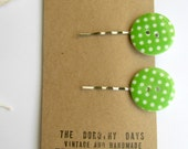 Green spotty button silver hair slides by The Dorothy Days - Green and white spots retro style  handmade bobby pins -