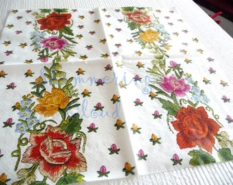 Flower, Floral, Paper Napkins, Decoupage, embroidery, white, red, orange, blue, green, multicolor, Scrapbooking, spring, pale,