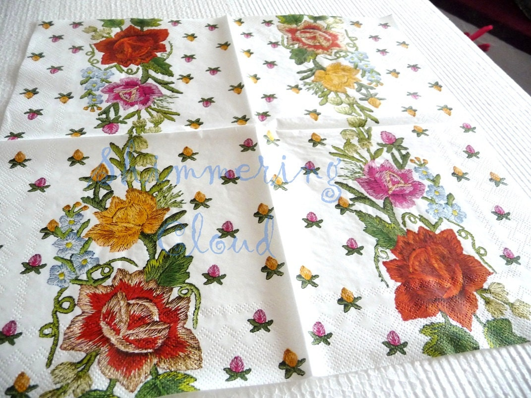 Flower Floral Paper Napkins Decoupage Embroidery