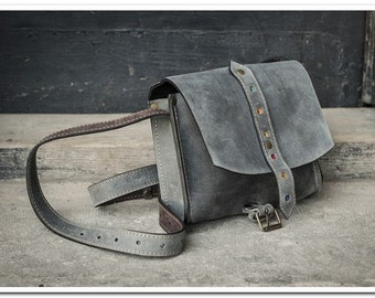 small leather handbag  LITTLE GREY MESSENGER