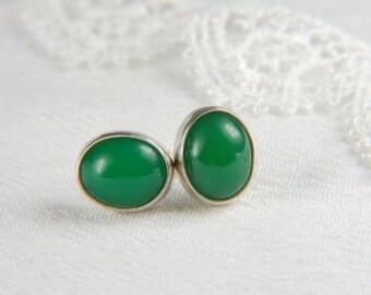 Chrysoprase Earrings Handmade Large Post Earrings Luxury Jewelry Natural Stone Earrings Chrysoprase Jewelry