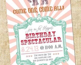 25 Vintage Circus Birthday Party Invitations