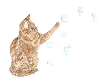 Watercolor painting, animal print, cat painting, cat art, cat nursery art, watercolor cat, watercolor animals, nursery decor, bubbles, 10X8