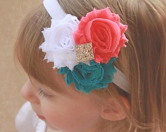 Bright Coral Pink, Teal Green, White Baby Girl Headband - Summery Colored Shabby Chic Hair Bow for Babies, Toddlers and Girls