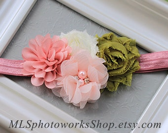 Trendy Olive, Rose & Ivory Combination Flower Headband - Chiffon Flower Hair Bow for Babies, Toddlers and Girls