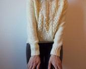vintage popcorn knit hand knit cream sweater jumper - 80s