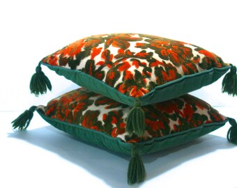 ReDuCeD Vintage PAIR Throw Pillows Emerald Green Orange Tan sculpted silk VELVET Flocked square w/ tassels and inserts INCLUDED with zippers