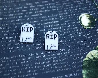 Tombstone Earrings -- Halloween Tombstone Studs, RIP Tombstone
