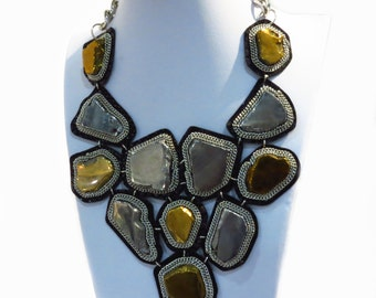 Metallic Agate Bib Necklace - Gold and Silver Statement Necklace - High Fashion Necklace - Black Leather Tribal Necklace - Ethnic Necklace