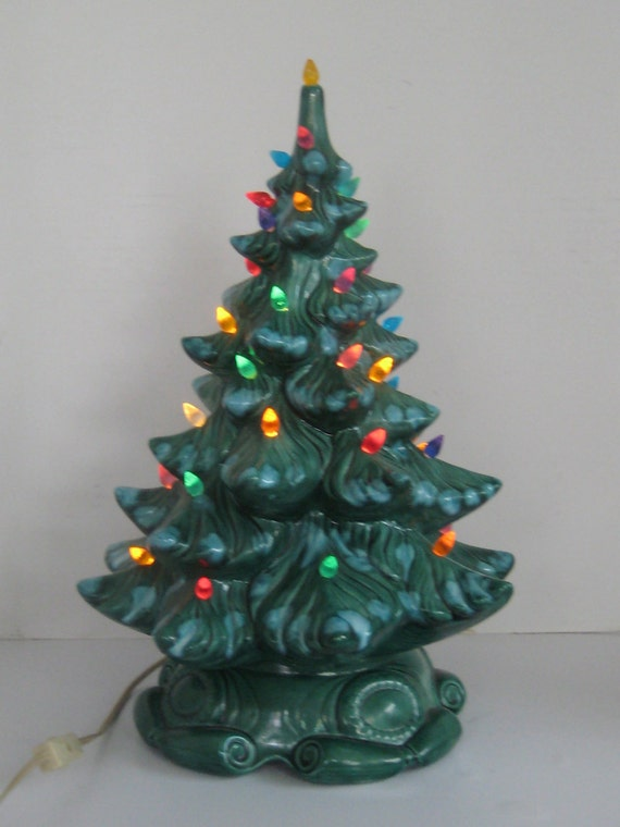 Vintage Atlantic Mold Ceramic Christmas Tree Blue Spruce