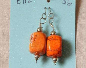 SALE - E112 - Orange Magnesite Earrings