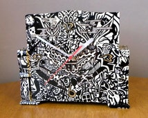 Hand Painted Clock Case 1950's OOAK Recycled Black and White 1960's design