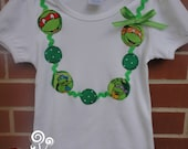 Teenage Mutant Ninja Turtle Girls Shirt, TMNT, Necklace shirt, Sizes 12 month, 2, 3, 4, 5, 6,