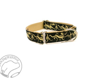 """Golden Dragons Dog Collar - 1"""" (25mm) Wide - Choice of collar style and size - Martingale or Quick Release - Brass Hardware Option"""