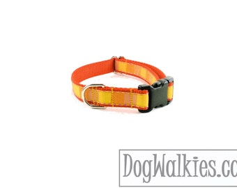 """Orange Creamsicle Squared Dog Collar - 3/4"""" (19mm) Wide - Choice of style and size - Plastic Side Release Buckle or Martingale Dog Collars"""