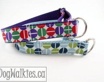 """Blue or Purple Retro Split Dot Dog Collar - 1"""" (25mm) Wide - Choice of colour, style and size - Martingale or Plastic Side Release"""