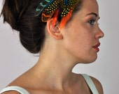 Festival Feather Hair Clip in Bright Blues, Yellows and Oranges