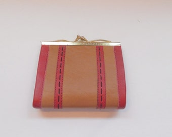 Vintage Leather Change Purse SMall Wallet Made in Hong Kong Royal Gimbel 1960's Womens Accessories