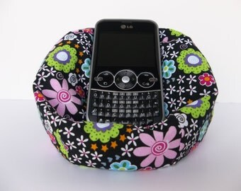 Cell phone bean bag chair black with pink, green, blue, and white flowers