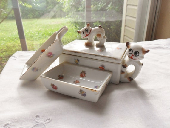 Cat Cigarette Box Set, Kitty Ashtray Set, Three Piece Cat Box Set, Asian Cat Smoking Set