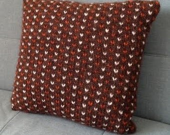 Cushion, Throw Pillow, Knit Pillow, Knitted Cushion, Hand Knitted, Pure Wool, UK Seller, Ginger, Brown,