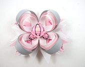 Pink Princess Hair Bow - Pink and Grey Hair Bow - Gray Hair Bow - Pink Hair Bow - Princess Hair Bow - Princess Carriage - Toddler Child Bow