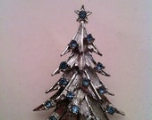 See CLOSEOUTSALE 50% Coupon, Vintage Brushed Silvertone and Light Blue Rhinestone Christmas Tree Brooch, Free Shipping