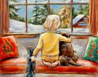 "Child puppy kitty snow Laurie Shanholtzer,  Christmas Painting, Canvas or art paper print, ""Told Ya Santa's Coming Tonight"""