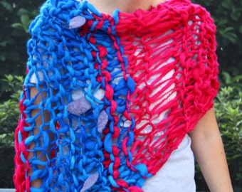 SALE Hand Knit Bulky Shawl Poncho, in Red and Blue, felt leaves, made of Super Soft Handspun Wool Yarn