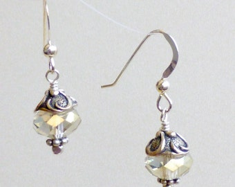 Pale Beige Crystals and Pewter Swirls on sterling earwires