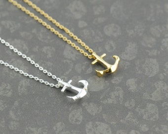 Small Anchor Necklace. Tiny Anchor Necklace in Gold or Silver. Anchor Necklace in Gold/ Silver. Sailor Necklace. Anchor My Love.