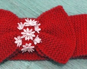 Red Knitted BOW Headband Ear Warmer Red Ear Warmer Winter Hair Band Twist Style Wide Headband Lace Flower Headband, Oversized Bow, Knits