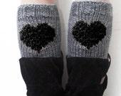 Women's Heart Knit Boot Cuffs Gray Black, Love Heart Short Leg Warmers. Crochet Boot Cuffs. Women's Legwear , Leg Warmers Heart Knit, LOVE