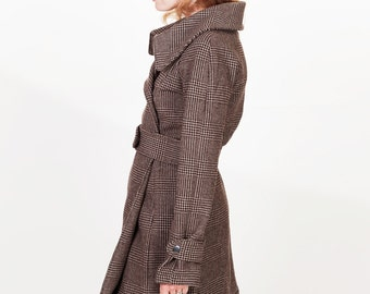Brown Black Plaid Womens Double Breasted High Collar Belted Wool Trench Coat