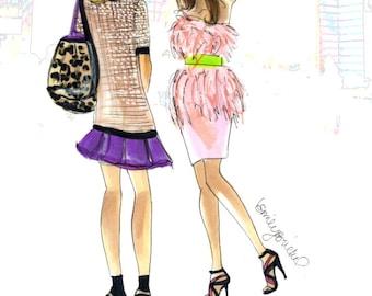 "Fashion Illustration print ""Fashion Week"",  Fashion Illustration of Anna Dello Russo and friend By Emily Brickel"