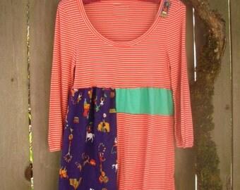Funky Eco Color Block Baby Doll Dress/ Circus Stripe Scoop Neck Mini Dress