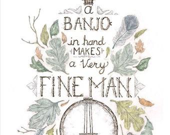 Banjo Man - 11 x 14 poster art print
