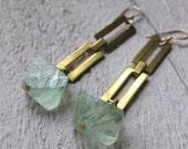 brass rectangluar chain and FLOURITE crystal earrings