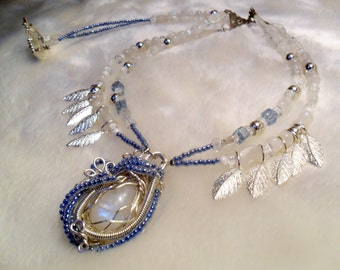 Lunar Forest Rainbow Moonstone Leaves Two Strand Necklace
