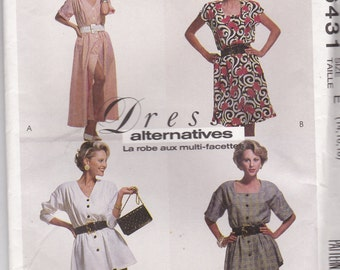 1990s McCalls Sewing Pattern No 6431 for Misses Dress, Tunic, Skirt Size 14-18 (36-40 inch bust) Uncut, Factory Folded