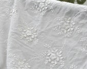 1 Yard Cotton Embroidery Fabric,Floral, Wedding,Bridal, White Color, flower pattern,Cotton fabric (W95)